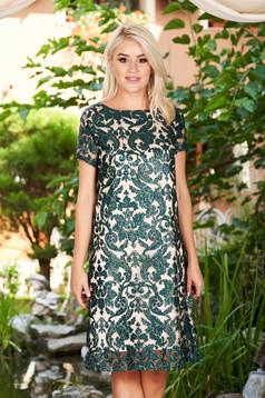 Rochie verde midi eleganta de ocazie cu un croi drept din dantela captusita pe interior