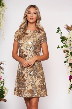 Gold dress occasional short cut straight with rounded cleavage short sleeves with sequins