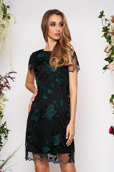 Rochie verde-inchis midi eleganta de ocazie cu un croi drept din dantela captusita pe interior