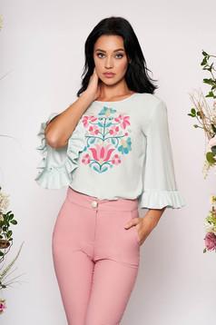 Bluza dama StarShinerS mint eleganta cu volanase la maneca cu imprimeu floral