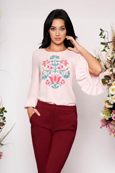 Bluza dama StarShinerS roz deschis eleganta cu volanase la maneca cu imprimeu floral