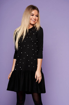 StarShinerS black dress daily short cut with pearls neckline long sleeved