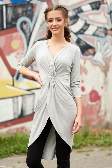 Bluza dama StarShinerS gri petrecuta casual asimetrica cu decolteu adanc si maneci trei-sferturi
