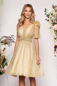 Gold dress occasional short cut cloche from veil fabric bow accessory with v-neckline sleeveless