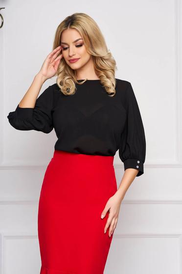 Bluza dama StarShinerS neagra scurta eleganta din material vaporos cu croi larg cu decolteu rotunjit si maneci largi