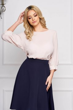 Bluza dama StarShinerS crem scurta eleganta din material vaporos cu croi larg cu decolteu rotunjit cu maneci trei-sferturi maneci largi