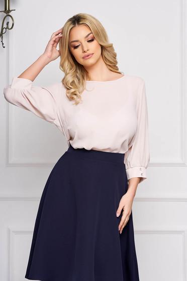 Bluza dama StarShinerS crem scurta eleganta din material vaporos cu croi larg cu decolteu rotunjit si maneci largi