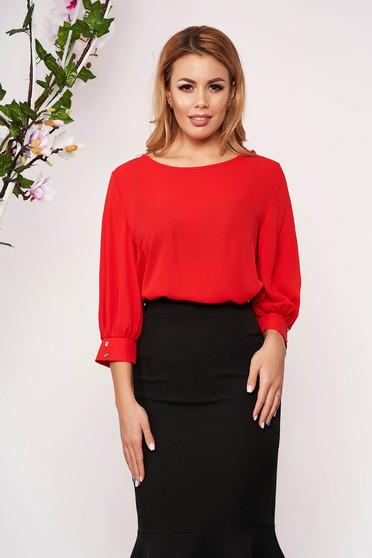 Bluza dama StarShinerS rosie scurta eleganta din material vaporos cu croi larg cu decolteu rotunjit si maneci trei-sferturi largi