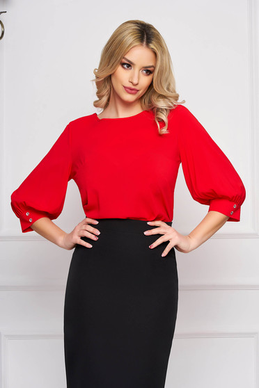 Bluza dama StarShinerS rosie scurta eleganta din material vaporos cu croi larg cu decolteu rotunjit si maneci largi