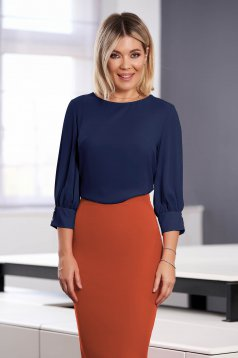 StarShinerS darkblue women`s blouse elegant short cut flared with rounded cleavage airy fabric large sleeves
