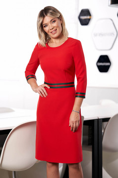 StarShinerS red dress office midi a-line cloth neckline with 3/4 sleeves