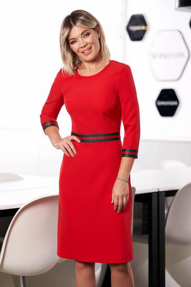 Rochie StarShinerS rosie midi office cu croi in a din stofa cu maneci trei-sferturi decolteu la baza gatului captusita pe interior