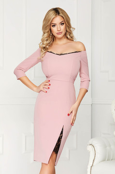 StarShinerS lightpink dress elegant midi pencil cloth thin fabric with 3/4 sleeves naked shoulders with lace details