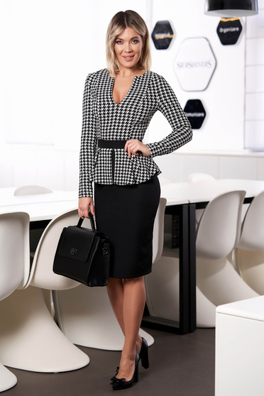Rochie StarShinerS neagra eleganta office scurta din stofa cu peplum si maneci lungi