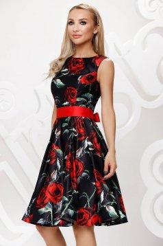 Rochie neagra midi de ocazie in clos din satin fara maneci cu cordon detasabil si imprimeu floral
