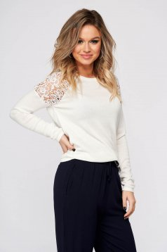 White sweater casual short cut flared neckline embroidered