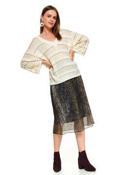 Pulover Top Secret piersica casual scurt din bumbac tricotat cu croi larg si decolteu in v