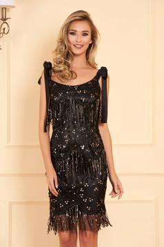 Rochie neagra eleganta de ocazie scurta tip creion din dantela cu paiete cu decolteu rotunjit