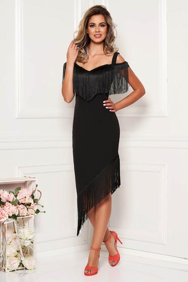 Rochie neagra eleganta de ocazie din stofa tip creion asimetrica cu bretele si franjuri