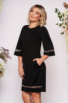 StarShinerS black dress elegant short cut straight with pockets without clothing with 3/4 sleeves large sleeves with small beads embellished details