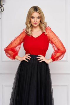 Bluza dama StarShinerS rosie eleganta scurta cu un croi mulat cu maneci bufante din tulle cu decolteu in v