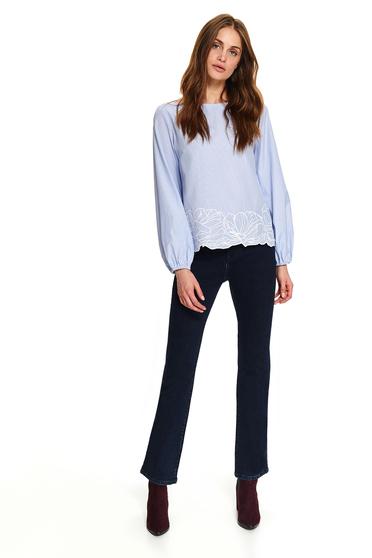 Bluza dama Top Secret albastru-deschis scurta casual cu croi larg cu dungi