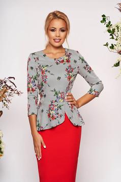 Bluza dama StarShinerS neagra eleganta scurta cu peplum din stofa neelastica cu imprimeuri florale