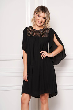 StarShinerS black dress occasional short cut from veil fabric with butterfly sleeves with cut-out sleeves with sequin embellished details