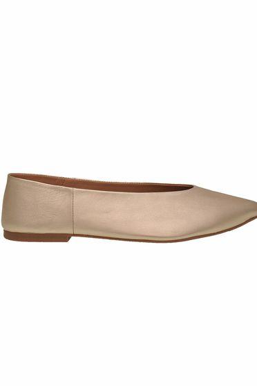 Pantofi Top Secret auriu casual din piele naturala cu talpa joasa si varful usor ascutit
