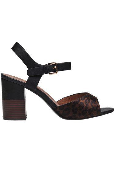 Sandale Top Secret negre animal print casual cu toc gros din piele ecologica