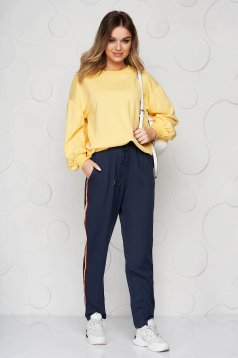 Darkblue trousers casual long with easy cut with front pockets