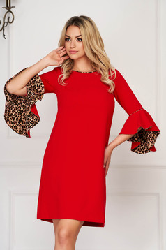 StarShinerS red dress elegant short cut flared neckline with 3/4 sleeves with bell sleeve without clothing