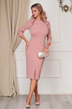 Dress StarShinerS pink occasional pencil midi scuba 3/4 sleeve