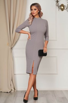 Dress StarShinerS grey occasional pencil midi scuba 3/4 sleeve