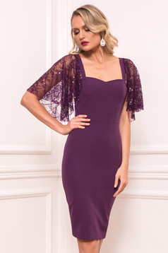 Purple dress occasional short cut pencil cloth with butterfly sleeves without clothing