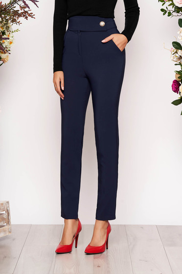 Pantaloni PrettyGirl albastru-inchis eleganti lungi conici din stofa usor elastica cu buzunare
