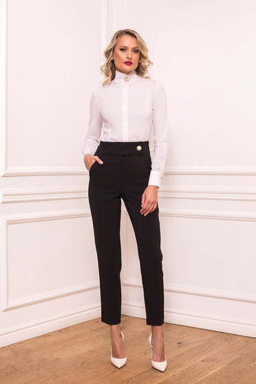 Pantaloni PrettyGirl negri eleganti lungi conici din stofa usor elastica cu buzunare