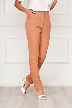 Cappuccino trousers elegant straight cloth slightly elastic fabric with pockets