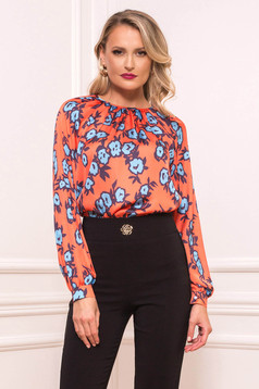 Orange women`s blouse elegant short cut flared long sleeved from satin fabric texture with floral print