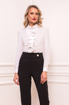 White women`s shirt elegant short cut with ruffles on the chest tented long sleeved with large collar