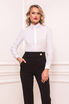 White body body cotton with pearls long sleeved with tented cut