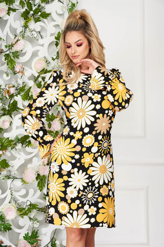 Rochie PrettyGirl neagra eleganta scurta cu un croi drept captusita pe interior cu buzunare si imprimeu floral