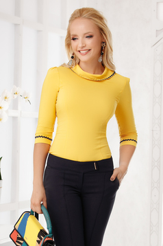 Yellow women`s shirt elegant cotton tented with collar with rounded cleavage