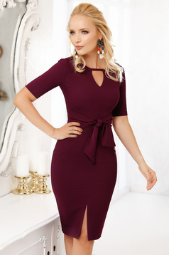 Purple occasional midi pencil dress thin cloth with short sleeves cut-out bust design