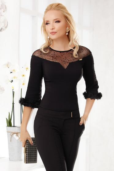 Camasa dama Fofy neagra eleganta scurta si mulata din bumbac cu flori in relief cu efect 3d