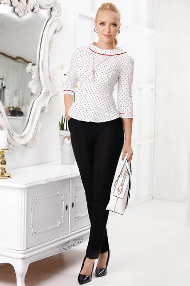 Camasa dama Fofy rosie eleganta scurta mulata din bumbac cu peplum si imprimeuri grafice
