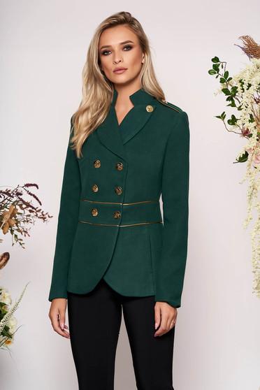 Sacou LaDonna verde-inchis elegant scurt cambrat din material gros cu maneca lunga si inchidere cu nasturi aurii