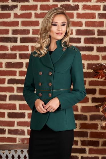 Jacheta LaDonna verde-inchis eleganta scurta material gros cu maneca lunga inchidere cu nasturi aurii