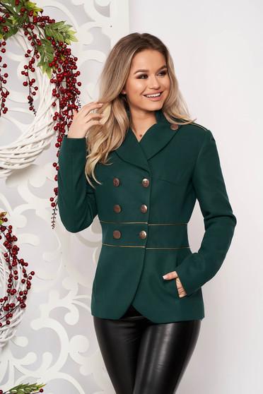 Jacheta LaDonna verde-inchis scurta eleganta din material gros cu maneca lunga si inchidere cu nasturi aurii