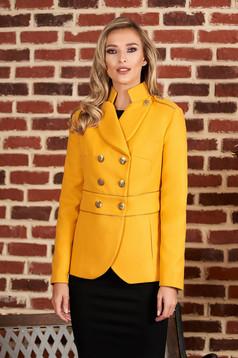Jacheta LaDonna mustarie scurta eleganta din material gros cu maneca lunga si inchidere cu nasturi aurii